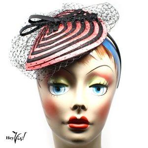 Fascinator Hat - Pink & Black Swirl w Veil - Retro